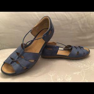 Blue denim colored leather sandals